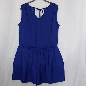 Ann Taylor Royal Blue Tie Back Romper Size 2 Small